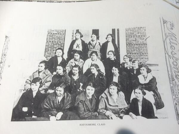 "Black & white class photo from an old yearbook, captioned ""sophomore class"""