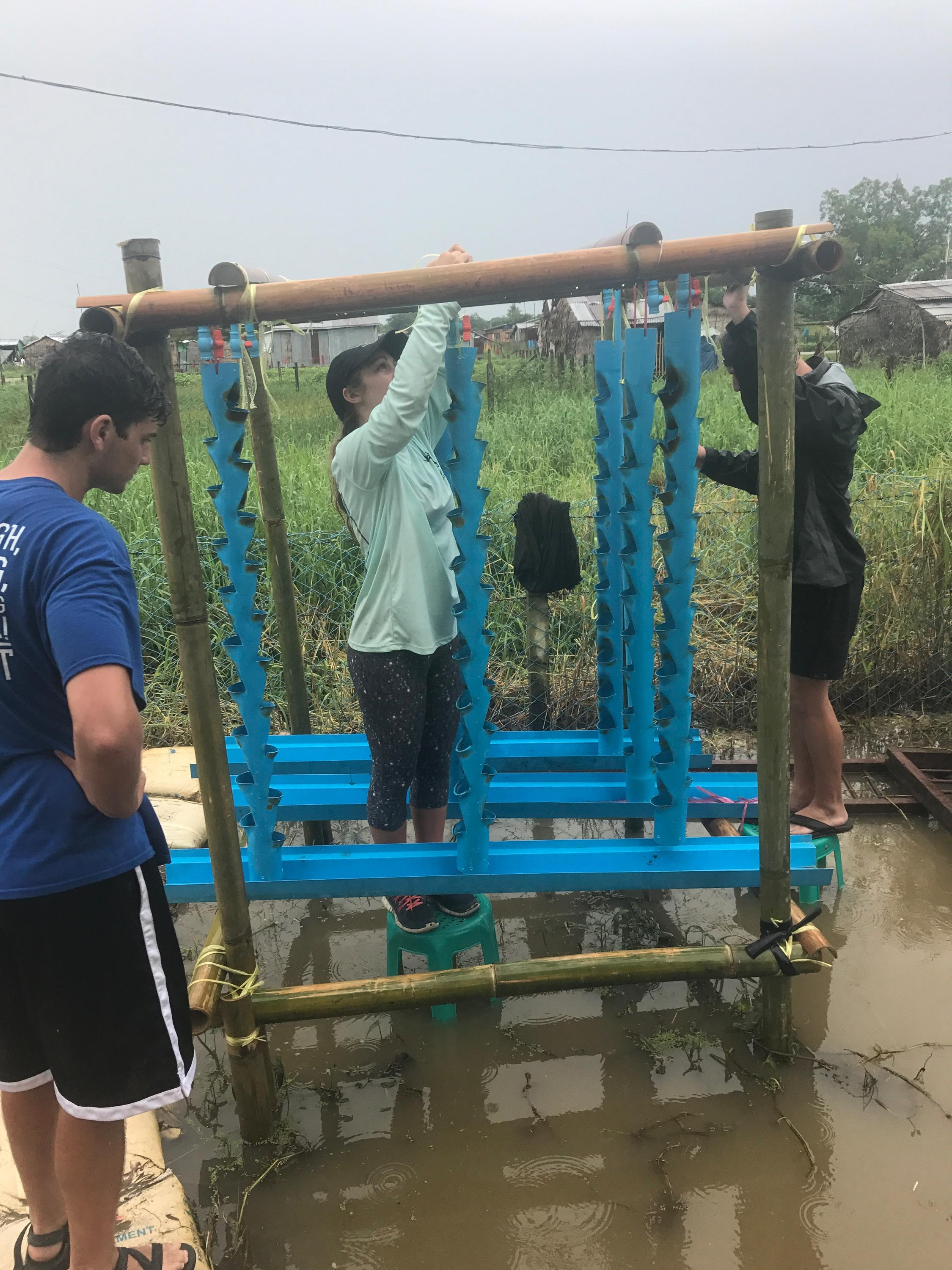 Coker Enactus students build water filtration and aquaponics systems in Myanmar