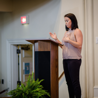 A student speaks during a Celebration of Academics presentation